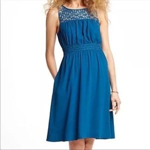 Anthropologie HD in Paris Blue Lace Yoke Dress
